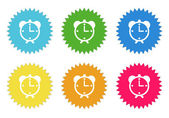 Set of colorful sticker icons with alarm clock symbol — Stock Photo