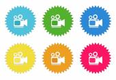 Set of colorful stickers icons with camcorder symbol — Stock Photo
