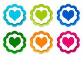 Set of colorful stickers icons with heart symbol — Fotografia Stock