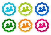 Set of colorful stickers icons with people symbol — Φωτογραφία Αρχείου