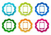 Set of colorful stickers icons with phone symbol — Stock Photo