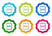 Set of colorful stickers icons with notepad 24 hours support symbol — Zdjęcie stockowe