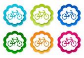 Набор красочных символов этикеток с велосипедным символом — Стоковое фото