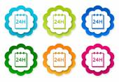 Set of colorful stickers icons with notepad 24 hours support — Stock fotografie