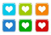 Σύνολο τετράγωνο πολύχρωμα κουμπιά με καρδιά σύμβολο — Φωτογραφία Αρχείου