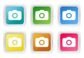 Set of squared colorful buttons with camera symbol — Stock Photo