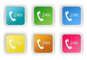Set of squared colorful buttons to symbolize attention 24 hours — Stock Photo