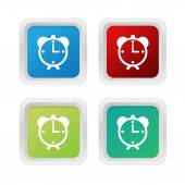 Set of squared colorful buttons with alarm clock symbol — Stock Photo
