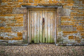 Old weathered double wooden doors — Stock Photo