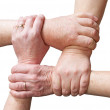 Hands of people forming a rectangle in sign of union — Stock Photo #52254711