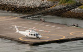Helicopter at heliport — Stock Photo
