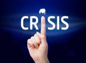 Crisis. Businessman shows on a virtual screen. Business, technol — Stock Photo