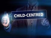 Businessman presses button child-centred on virtual screens. Bus — Stock Photo