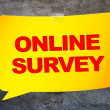 """""""Online survey"""" in the yellow banner textural background. Design — Stock Photo #77473222"""