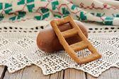 Lestvitsa, Russian rye festive spring cookie on handmade rushnik — Stock Photo
