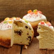 Kulich, Russian easter yeast sweet bread decorated with icing, c — Stock Photo #68586219