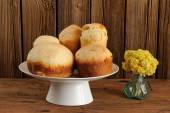 Kulich, Russian easter yeast sweet breads on white pedestal with — Stock Photo