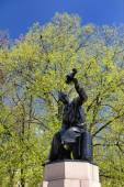 Nikolai Polikarpov monument in Orel, Russia, against blue sky an — Stock Photo