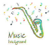 Saxophone music background with notes — Stock Vector