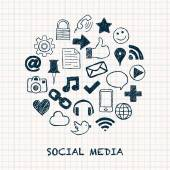 Social media icons in circle — Wektor stockowy