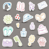 Girl accessories chalky doodles — Stock Vector