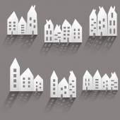 Paper houses with long shadow — Stockvektor