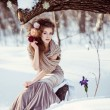 Beautiful girl in the winter forest  — Stock Photo #55095569