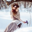 Beautiful girl in the winter forest  — Stock Photo #55095587