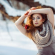 Beautiful girl in the winter forest — Stock Photo #55095617
