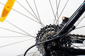 Close-up on a bicycle rear wheel  — Stock Photo