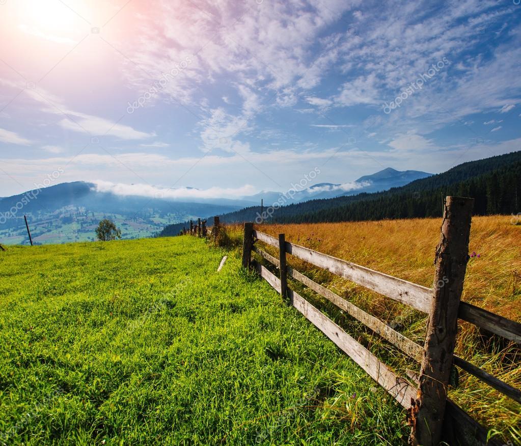 在湛蓝的天空,美丽的牧场上,覆盖着野花下的木栅栏广角视图— photo