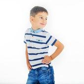 Fudboltsi niño aislado sobre fondo blanco — Foto de Stock