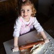 Photo of  baker adorable, pretty little caucasian girl in chef.  — Stock Photo #62899945