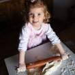 Photo of  baker adorable, pretty little caucasian girl in chef. — Stock Photo #62899945