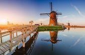 Traditional Dutch windmills from the channel Rotterdam. Holland. — Stock Photo