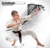 Karate. Man in a kimono on the white background — Stock Photo