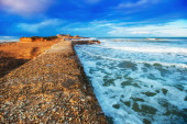 Spring panorama of sea coast city Trapany. Sicily, Italy, Europe — Stock Photo