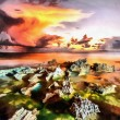 Sunset at coast of the sea with stones — Stock Photo #76343043