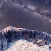Fantastic winter meteor shower and the snow-capped mountains. Vi — Stock Photo