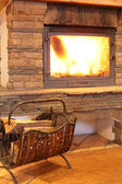 Cozy and stylish fire place — Stock Photo