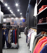 布の店のブランドの新しいインテリア — ストック写真