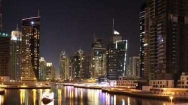 Night Dubai marina — Stock Video
