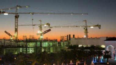 Construction at night Dubai — Stock Video