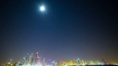 Dubai şehir gece panorama — Stok video