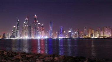 Dubai marina at night — Stock Video