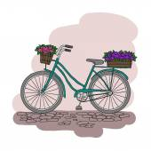 Bicycle with a basket of flowers — Stock Vector