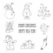 Christmas retro elements and illustrations, lettering. — Stock Vector