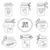 The set of hand drawn jars with home-made jams. — Stock Vector