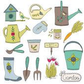 Gardening design elements — Stock Vector