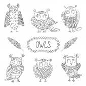 Cute cartoon vector owls  with  feathers — Stock Vector